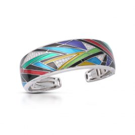 Belle Etoile Chromatica Bangle, Black Italian Enamel, Silver, large