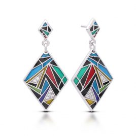 Belle Etoile Chromatica Earrings, Blue Italian Enamel, Silver