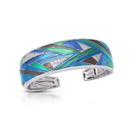 Belle Etoile Chromatica Bangle, Blue Italian Enamel, Silver, large
