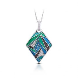 Belle Etoile Chromatica Pendant, Blue Italian Enamel, Silver