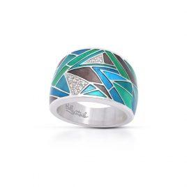 Belle Etoile Chromatica Ring, Blue Italian Enamel, Silver, Size 5