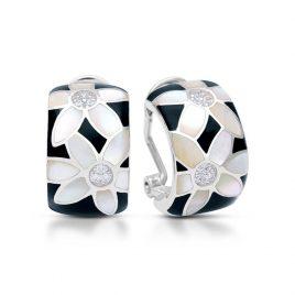 Belle Etoile Moonflower Earrings, Black Italian Enamel, Silver