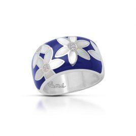 Belle Etoile Moonflower Ring, Blue Italian Enamel, Silver Size 5
