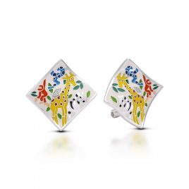 Belle Etoile Serengeti Earrings, Ivory Italian Enamel, Silver
