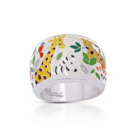 Belle Etoile Serengeti Ring, Ivory Italian Enamel, Silver, size 5