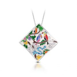 Belle Etoile Tropical Rainforest Pendant, Ivory Italian Enamel, Silver