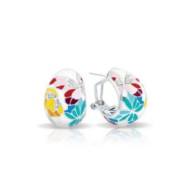 Belle Etoile Butterfly Kisses Earrings, Ivory Enamel, Silver