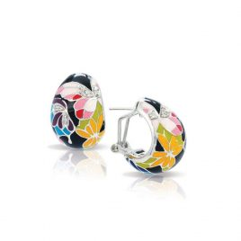 Belle Etoile Butterfly Kisses Earrings, Black Enamel, Silver