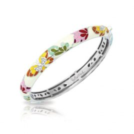 Belle Etoile Butterfly Kisses Stackable Bangle, Ivory Enamel, Silver, Large