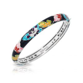 Belle Etoile Butterfly Kisses Stackable Bangle, Black Enamel, Silver, Medium
