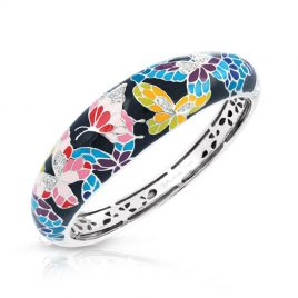 Belle Etoile Butterfly Kisses Bangle, Black Enamel, Silver, Large