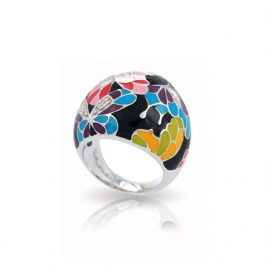 Belle Etoile Butterfly Kisses Ring, Black Enamel, Silver, Size 8