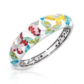 Belle Etoile Butterfly Kisses Bangle, Ivory Enamel, Silver, Medium