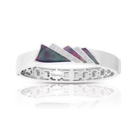 Belle Etoile Empire Bangle, Black Mother of Pearl, Silver Large