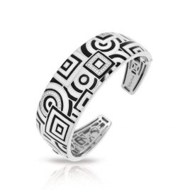 Belle Etoile Geometrica Bangle, Italian Enamel, Silver, small