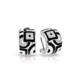 Belle Etoile Geometrica Earrings, Black and White Enamel, Silver