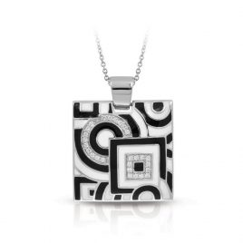 Belle Etoile Geometrica Pendant, Black and White Enamel, Silver