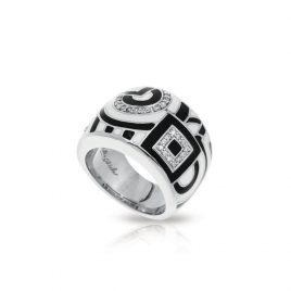 Belle Etoile Geometrica Ring, Black and White Enamel. Silver, size 5