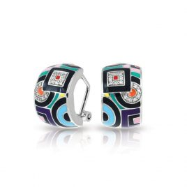 Belle Etoile Geometrica Earrings, Multi Color Enamel, Silver