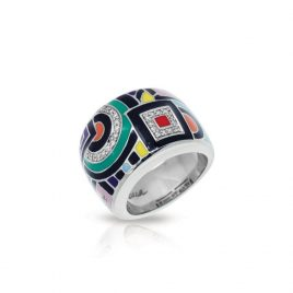 Belle Etoile Geometrica Ring, Multi Color Enamel. Silver, size 10