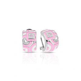 Belle Etoile Geometrica Earrings, Pink Enamel, Silver
