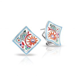 Bell Etoile Pashmina Earrings White Italian Enamel, Silver