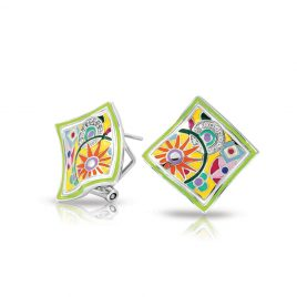 Bell Etoile Pashmina Earrings Yellow Italian Enamel, Silver