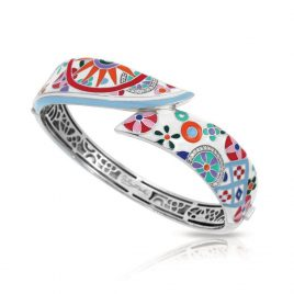 Bell Etoile Pashmina Bangle White Italian Enamel, Silver, Medium