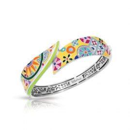 Bell Etoile Pashmina Bangle Yellow Italian Enamel, Silver, Small
