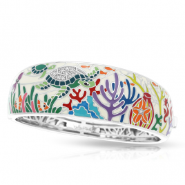 Belle Etoile Sea Turtle Bangle, Ivory Enamel, Silver, medium